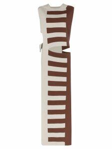 Rick Owens striped cutout silk maxi dress - Grey