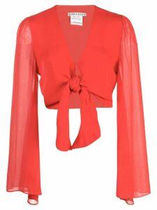 Alice+Olivia Prija tie fastening cropped top - Red