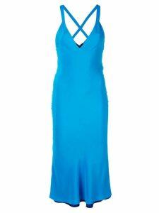 Haider Ackermann deep V-neck dress - Blue