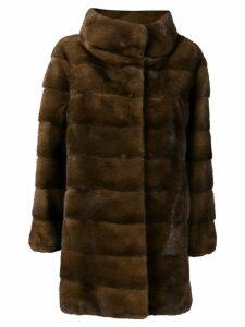Liska oversized single-breasted coat - Brown