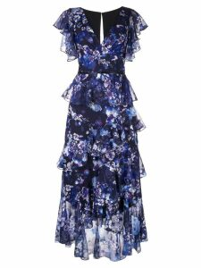 Marchesa Notte ruffled floral print dress - Blue
