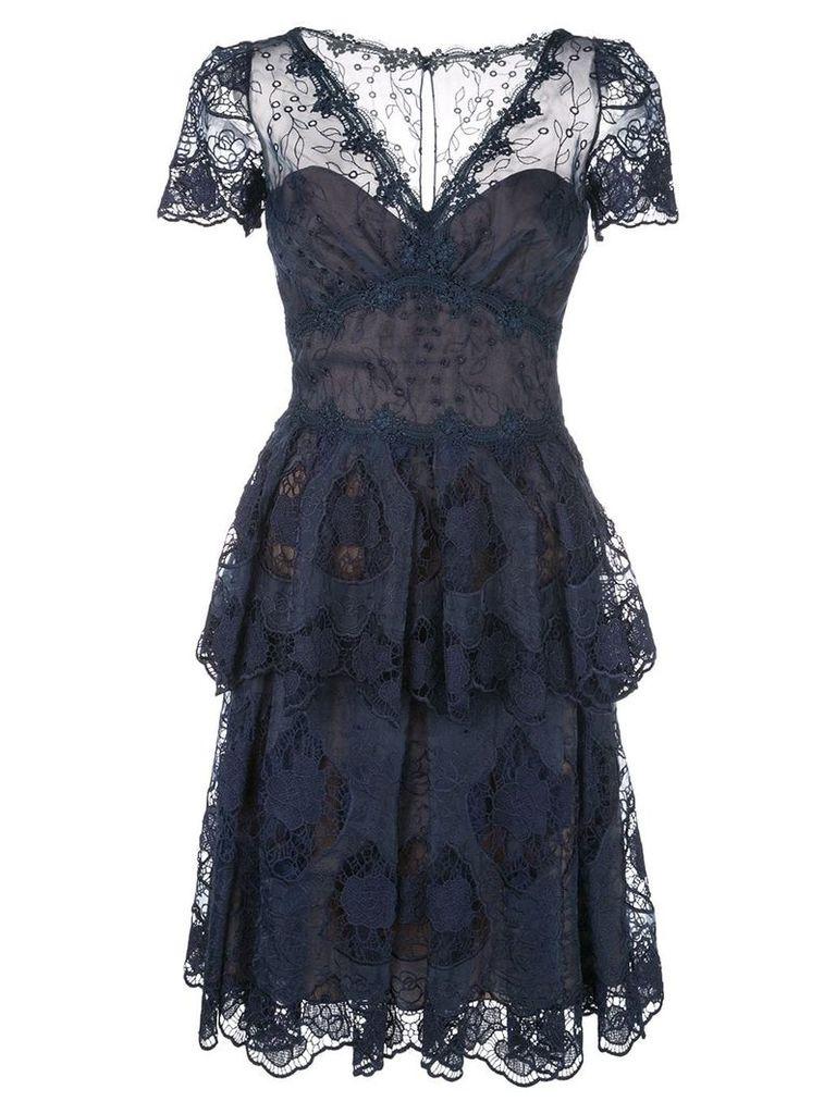Marchesa Notte flared lace dress - Blue