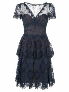 Marchesa Notte flared lace dress - Blue