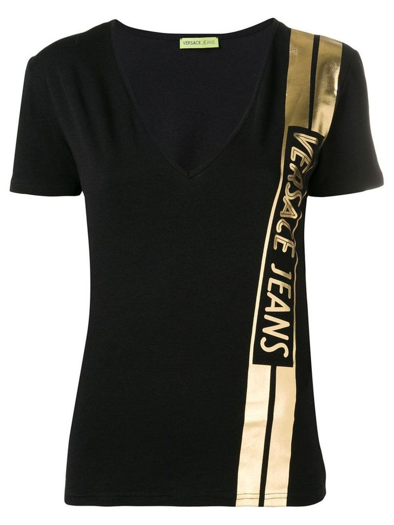 Versace Jeans classic T-shirt with vertical stamp - Black