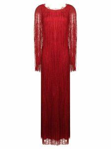 Alberta Ferretti fringed detail evening dress - Red
