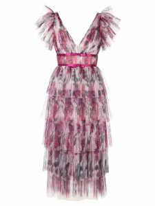 Marchesa Notte frilled pleated dress - Pink
