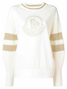 Moncler logo patch sweater - Neutrals