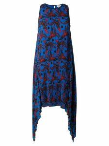 Kenzo phoenix print pleated dress - Blue