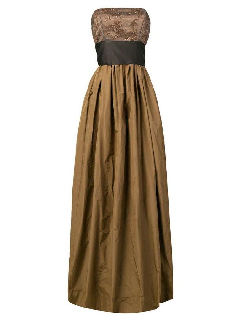 Brunello Cucinelli strapless evening gown - Brown