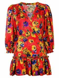 Attico ruffled floral print dress - Red