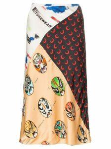 Marine Serre Mix print straight midi-skirt - Multicoloured