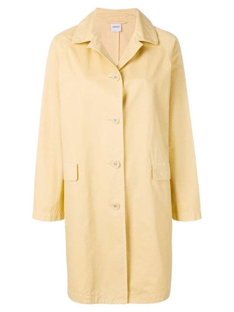 Aspesi button fastened trench coat - Yellow