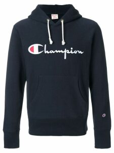 Champion logo patch hooded sweatshirt - Blue