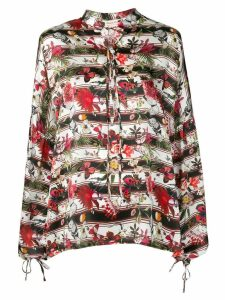 Black Coral butterfly print blouse - Red