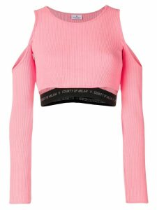 Marcelo Burlon County Of Milan cold shoulder cropped top - Pink