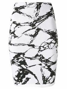 Balmain marble print knit skirt - White