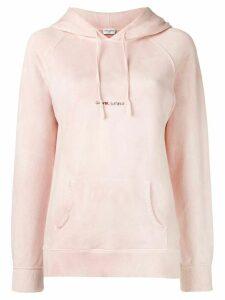 Saint Laurent logo print hoodie - Pink