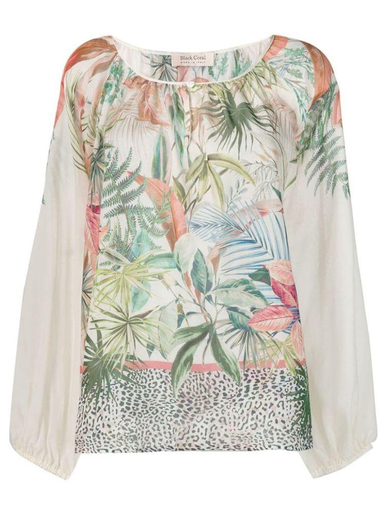 Black Coral jungle print blouse - Neutrals