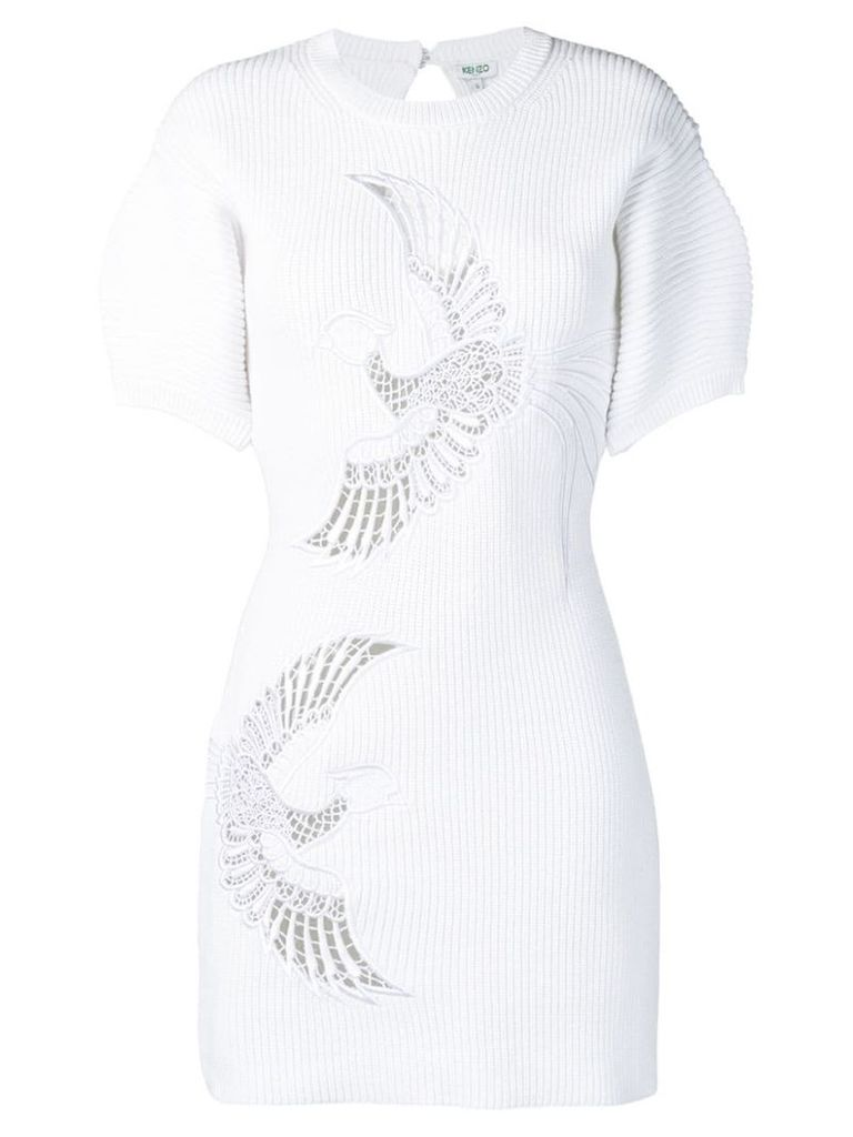 Kenzo Flying Phoenix ribbed dress - White
