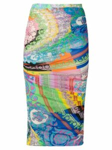 Versace mixed print pencil skirt - Black