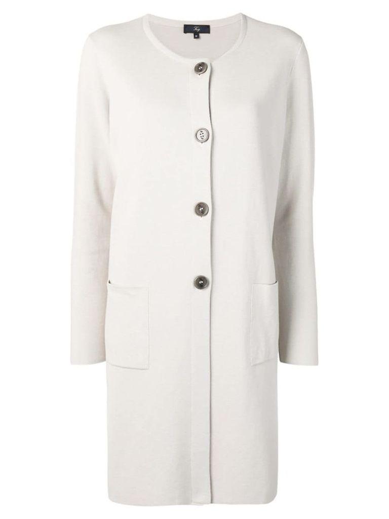 Fay long cardi-coat - Neutrals