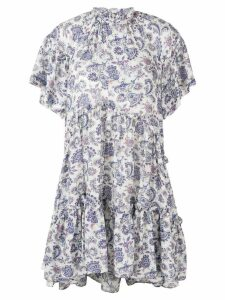 Isabel Marant paisley tiered mini dress - Neutrals