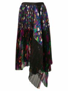 Sacai asymmetric pleated skirt - Black