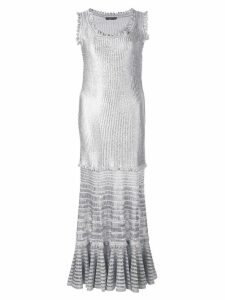 Alexander McQueen laddered knit midi dress - Silver