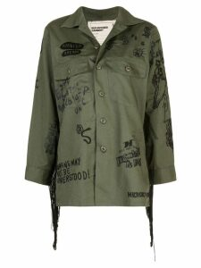 R13 fringed surplus embroidered shirt - Green