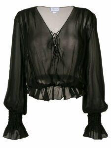 Redemption long-sleeve sheer blouse - Black