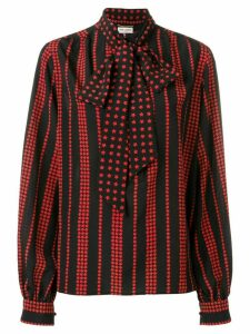 Saint Laurent stars and stripes printed blouse - Black