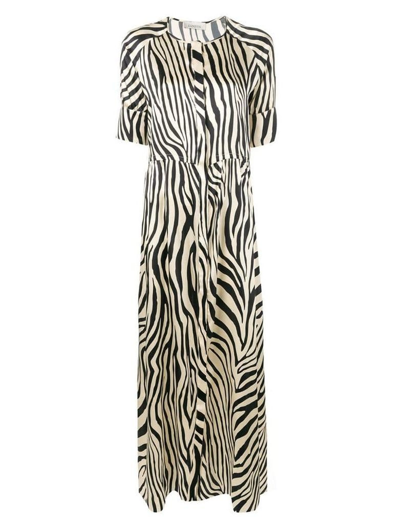 Laneus zebra print flared maxi dress - Neutrals
