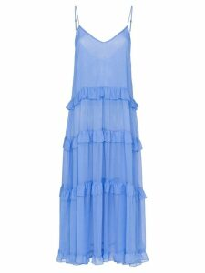 Les Reveries V-neck ruffle silk dress - Blue