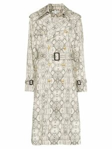 Les Reveries snake print belted mid-length trench coat - Neutrals