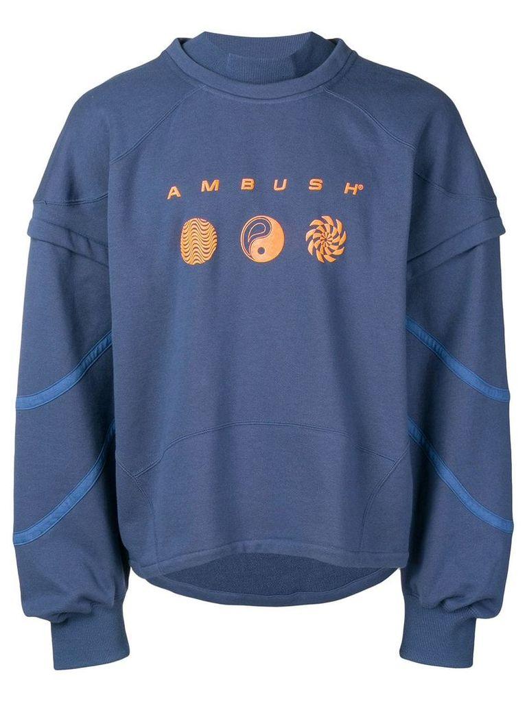 AMBUSH logo layered sweatshirt - Blue