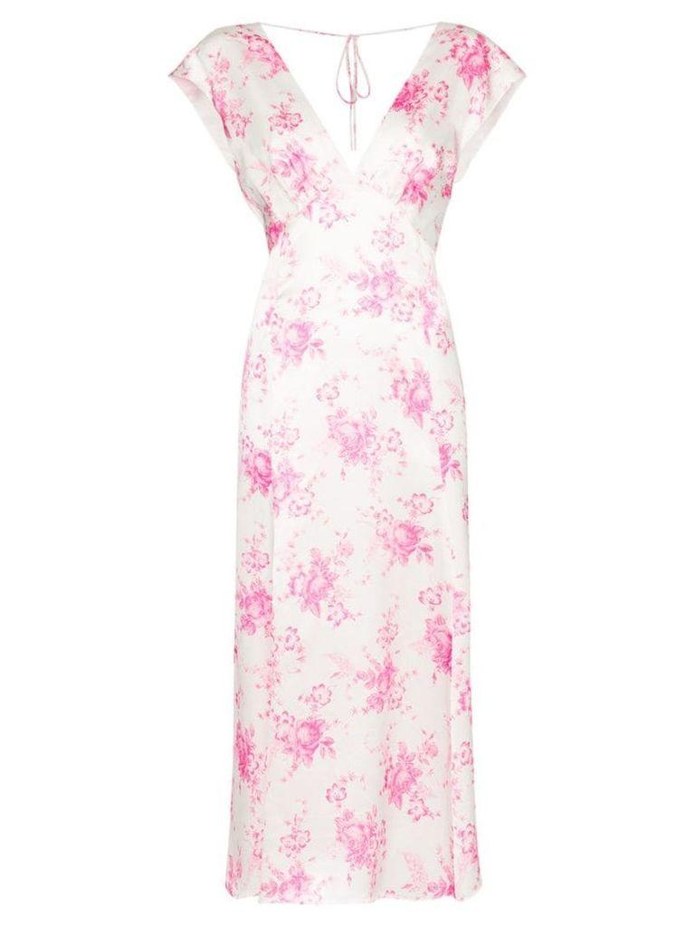 Les Reveries garden bouquet silk dress - White