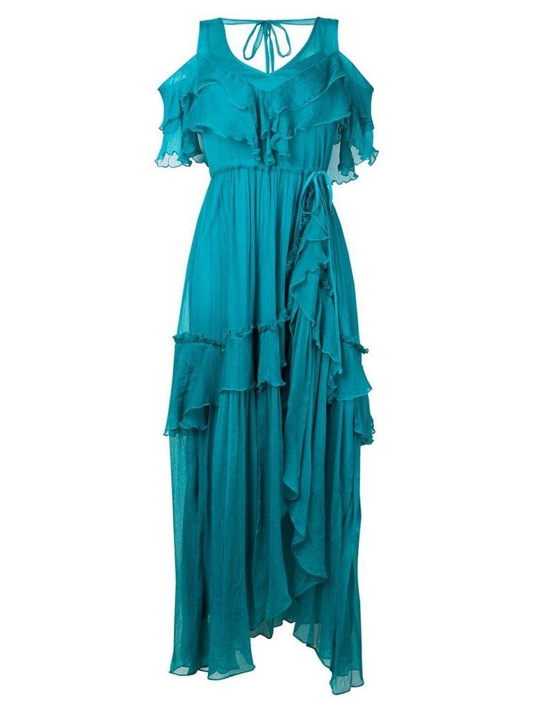Twin-Set ruffled maxi dress - Blue