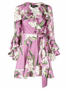 Patbo printed ruffle wrap dress - Purple