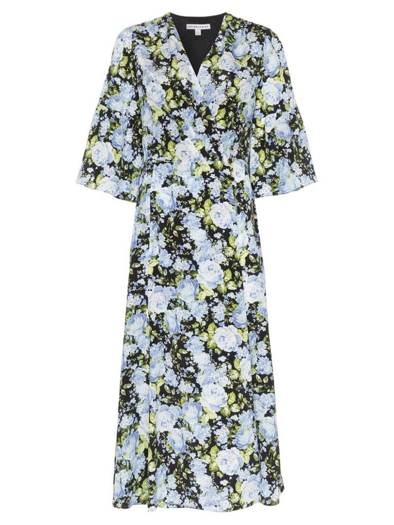Les Reveries floral print V-neck silk wrap dress - Black