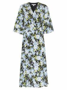Les Reveries floral print V-neck silk wrap dress - Black