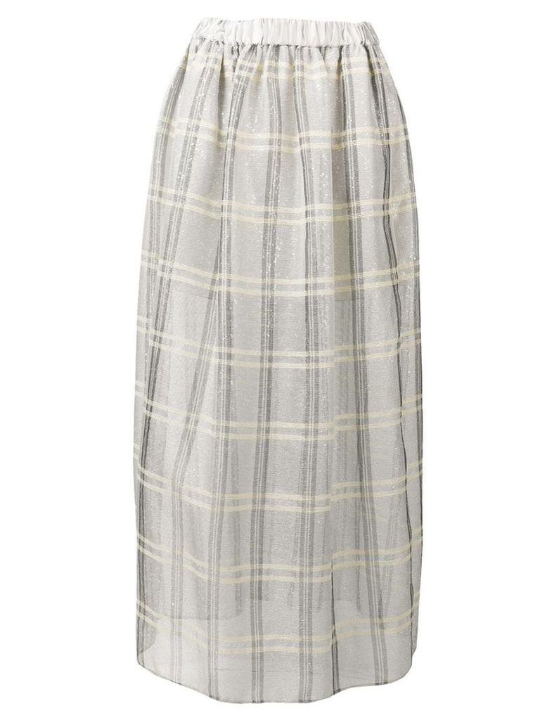 Emporio Armani sequinned check full skirt - Grey