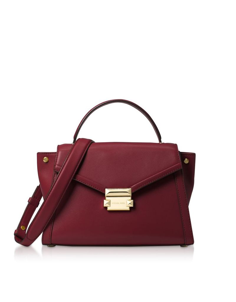 Michael Kors Designer Handbags, Oxblood Leather Whitney Medium Top-Handle Satchel Bag