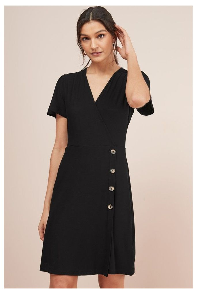 Womens Next Black Wrap Button Dress -  Black
