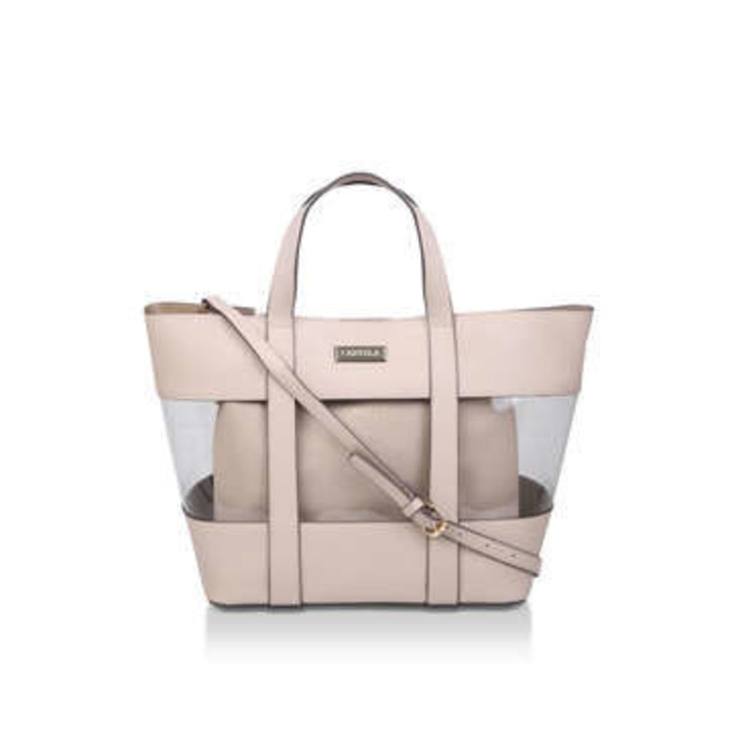 Carvela Perspex Tote With Pouch - Nude Perspex Tote Bag