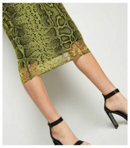 Yellow Neon Snake Print Side Split Skirt New Look