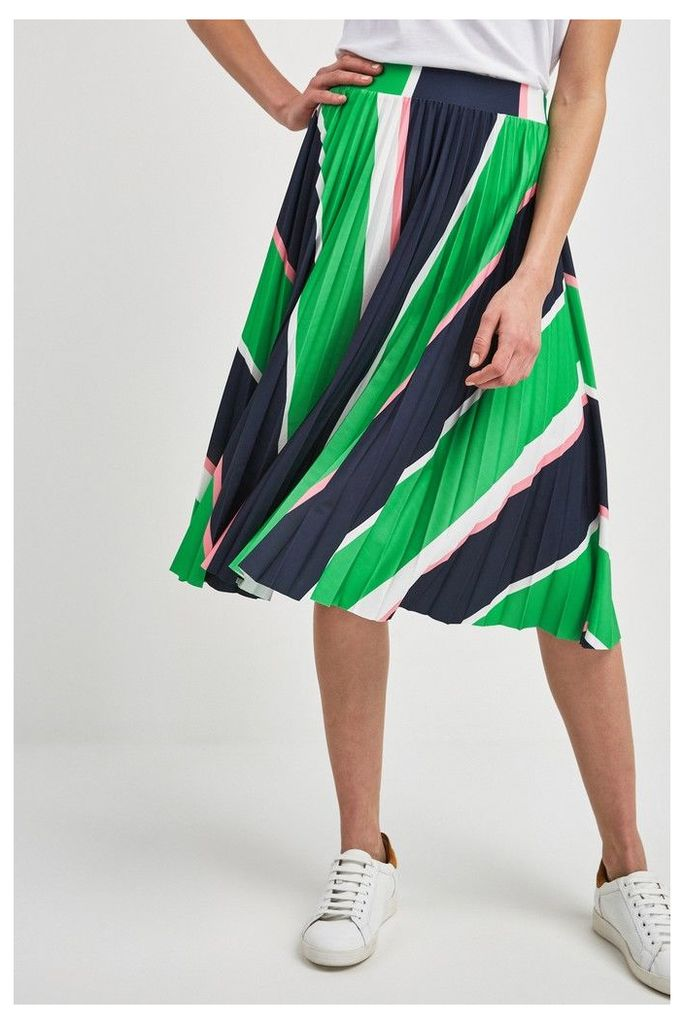 Womens Next Green Stripe Pleated Skirt -  Green