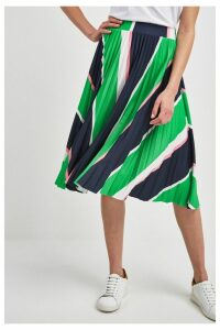 Womens Next Green Stripe Pleated Skirt -  Green