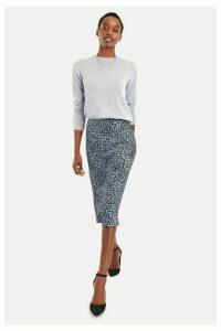 Womens Oasis Blue Leopard Satin Skirt -  Blue