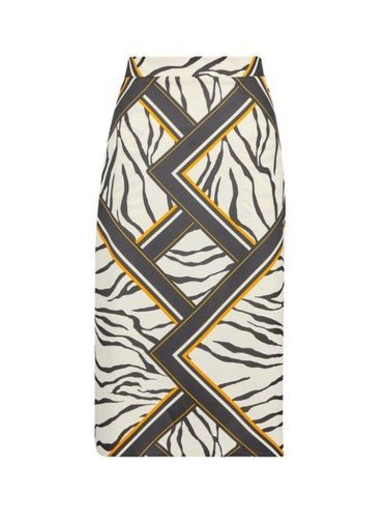Womens Stone Zebra Print Midi Skirt- White, White