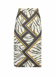 Womens Stone Zebra Print Midi Skirt- Multi Colour, Multi Colour